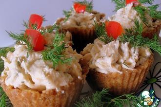 Закусочные тарталетки с сeмгой и сыром