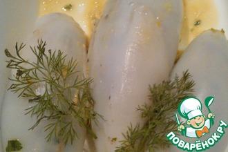 Кальмары фаршированные креветками и овощами