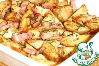 Золотистый запеченный картофель с мясом