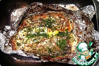 Скумбрия с грибами и сыром, запечённая в духовке