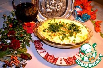 Болгарская запеканка с рисом, индейкой, брынзой и кефиром