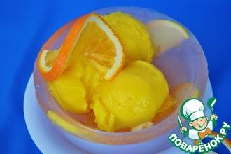 Ледяная чаша с лимонно-апельсиновым сорбетом