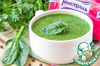 Крем-суп из фасоли и шпината