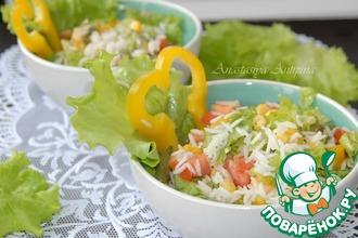 Постный салат из риса с зеленой фасолью