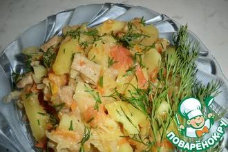 Картофель с капустой и болгарским перцем в мультиварке