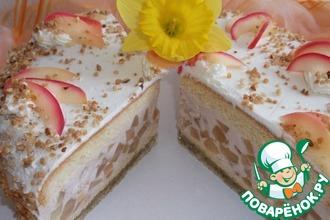Яблочный торт на орехово-марципановой подушке