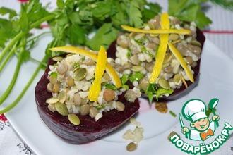 Салат из чечевицы и булгура в свекле