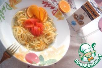 Спагетти со сливочным соусом с апельсином, ванилью и малосольной форелью