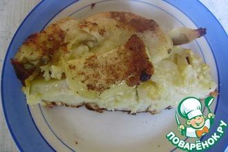 Блинный пирог с яблоками и грушами