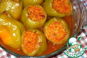 Перец, фаршированный булгуром с овощами