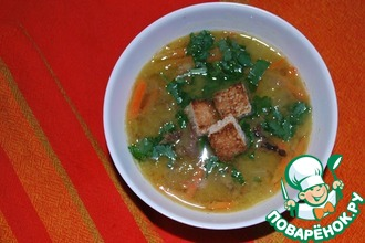 Суп гороховый с копченой уткой