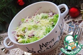 Зелёный салат с пармезановой заправкой