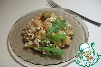 Салат с макаронами и чечевицей