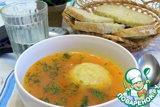 Суп с клёцками из булгура с мясной начинкой