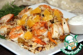 Коричневый рис с креветками