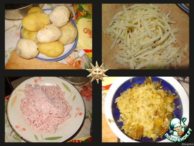 Картофель почистить и натереть на крупную терку.       Сыр и огурцы также натереть на крупной терке.        Ветчину можно измельчить в блендере или натереть на терке.