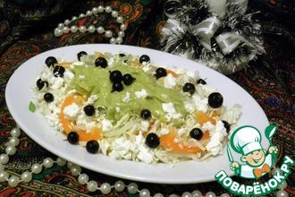 Легкий овощной салат с заправкой из авокадо