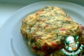 Куриный торт с творожно-овощной начинкой
