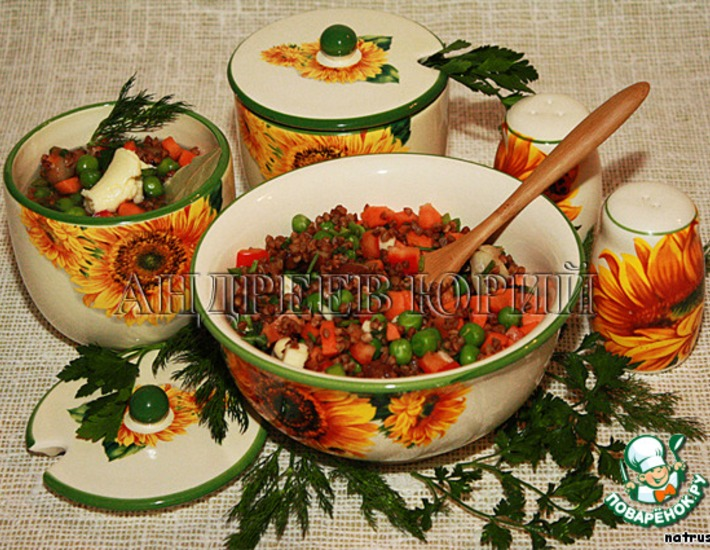 Гречка с овощами из духовки