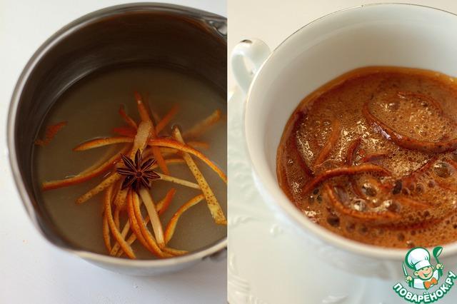 Пока наш кекс пекся, я решилась приготовить карамельный сироп.        В составе: сахар, мед цедра, бадьян и вода.         Довести до кипения смесь и варить на медленном огне, тут есть один момент: я сироп перевалила и смогла сделать изумительные карамельные нити. Поэтому по времени: если хотите жидкий сироп, варите около 3-4 минут, если хотите карамельные нити, то цвет станет коричневым, и все начнет сильно пузырится. Если про время, то, мне кажется, минут 6-7 у меня ушло.