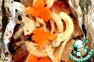 Овощные лодочки с морским окунем