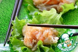 Жареные креветки в рисовой лапше