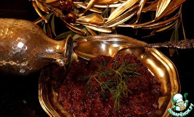 Сервировать с поджаренным в тостере или на сковороде свежим хлебушком и сыром фета.       И, конечно же, еще один рецепт-подарок: Оливковое пате.    Из оливок, масла 2 ст. л., миндаля, чеснока 1 зуб., каперсов 1 ч. л. и орегано - точно так же приготовить оливковое пате.