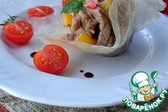 Свинина с соте из шампиньонов и овощей