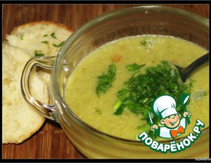 Крем-суп из курицы с зелeным горошком