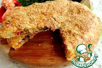 Сырно-слоеный пирог с карамелизированными баклажанами