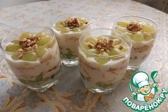 Фруктово-сметанный десерт с грецкими орехами