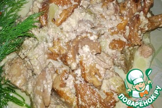 Лисички с куриной печенью