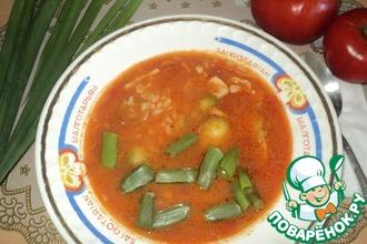 Суп с кальмарами, рисом и брюссельской капустой