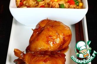 Глазированные куриные голени и рис по-кантонски