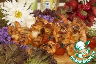 Креветки-гриль, маринованные в соевом соусе