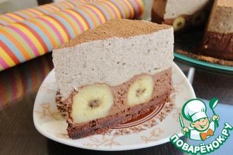 Торт с банановым и шоколадным муссом