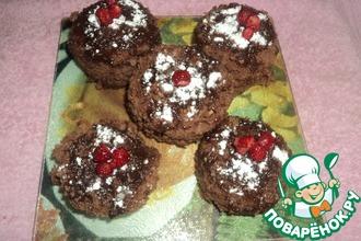 Шоколадные кексы с шоколадной начинкой в микроволновке