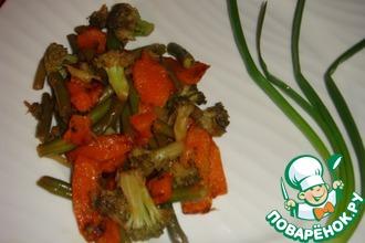 Запеченная тыква с брокколи и зеленой фасолью в китайском стиле
