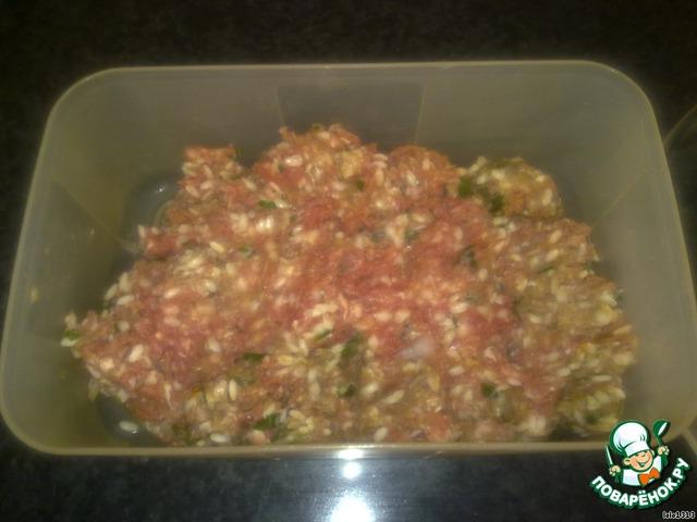 Соединить в удобной ёмкости мясной фарш, рис, мелко нарезанный лук, одно яйцо, соль, перец, зелень и несколько ложек воды.