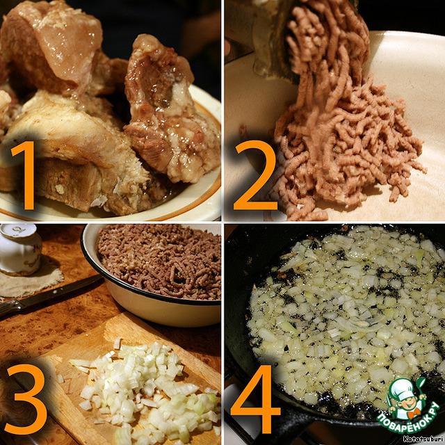 Для начала займемся начинкой.    Отварную говядину пополам со свининой - 50:50 (это самый вкусный мясной состав!) пропускаем через мясорубку.     Лук мелко режем, припускаем на растительном масле с нейтральным вкусом до золотистого цвета.