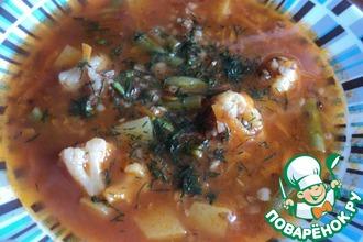 Суп постный с гречей, цветной капустой и фасолью