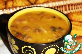 Горохово-тыквенный суп с грибами