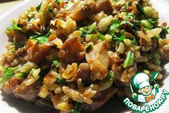 Жареные грибы с рисом и с зеленью