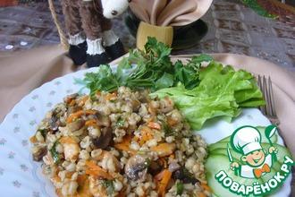 Перловая каша с креветками и овощами