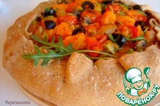 Овощная гречневая галета с чечевицей и грибами