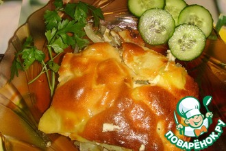 Запеченный картофель с курицей и шампиньонами