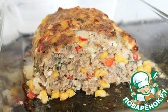 Мясной рулет с кукурузой, паприкой и сыром фета