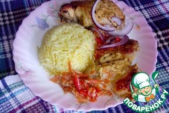 Курица Тандури и ароматный рис на кокосовом молоке с шафраном