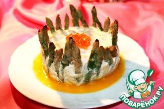 Суфле из лосося и крабовых палочек со спаржей и с апельсиновым соусом