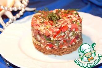 Тартар из крабовых палочек с подкопченым лососем на бородинском хлебушке